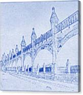 Antwerp Railway Bridge Blueprint Canvas Print