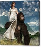Ape And Girl Canvas Print
