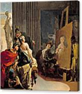 Apelles Painting The Portrait Of Campaspe Canvas Print
