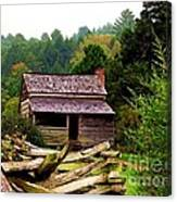 Appalachian Cabin With Fence Canvas Print