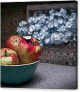 Apples And Flower Basket Still Life Canvas Print