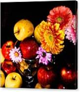 Apples And Suflowers Canvas Print