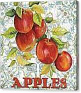 Apples On Damask Canvas Print