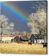 Approaching Storm At Cattle Ranch Canvas Print