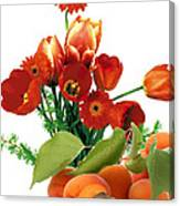 Apricots And Red Roses Canvas Print