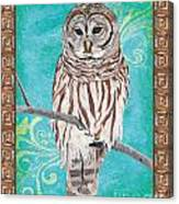 Aqua Barred Owl Canvas Print