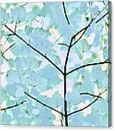 Aqua Blues Greens Leaves Melody Canvas Print