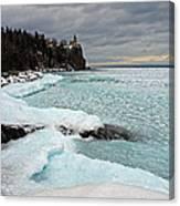 Aqua Ice At Split Rock Lighthouse Canvas Print