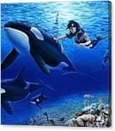 Aquaria's Orcas Canvas Print