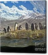 Aquarium Penguins Line Dance Canvas Print