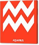 Aquarius Zodiac Sign White On Orange Canvas Print