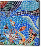 Aquatic Mosaic Tile Art Canvas Print