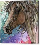 Arabian Horse And Burst Of Colors Canvas Print
