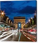 Arc De Triomphe At Dusk Paris Canvas Print
