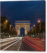 Arch De Triomphe And Avenue Des Champs Elysees Paris France Canvas Print