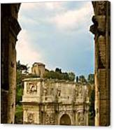 Arch Of Constantine Through The Colosseum Canvas Print