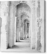 Arched Walkway At Entrance Of The Old Roman Colloseum At El Jem Tunisia Canvas Print