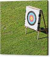 Archery Round Target On A Stand Canvas Print