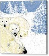 Arctic Family - Getting Cozy Canvas Print