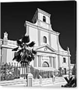 Arecibo Church And Plaza B W 2 Canvas Print