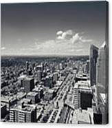 Arial View Of Calgary Facing West Canvas Print