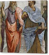 Aristotle And Plato Detail Of School Of Athens Canvas Print