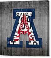 Arizona Wildcats College Sports Team Retro Vintage Recycled License Plate Art Canvas Print