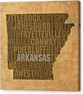 Arkansas Word Art State Map On Canvas Canvas Print