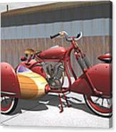 Art Deco Motorcycle With Sidecar Canvas Print