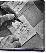Art Homage Ted Degrazia Pen Ink Drawing On Camera Kvoa Tv Studio January 1966  Canvas Print