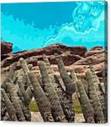 Art No 1901 American Landscape Cactus Stone Mountains And Skyview By Navinjoshi Artist Toronto Canad Canvas Print