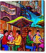 Art Of Montreal Enjoying A Pint At Ye Olde Orchard Irish Pub And Grill Monkland Village Cafe Scenes Canvas Print