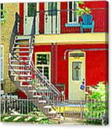 Art Of Montreal Upstairs Porch With Summer Chair Red Triplex In Verdun City Scene C Spandau Canvas Print