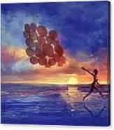 Art The Sea  A Girl Balloons Running Canvas Print