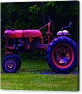 Artful Tractor In Purples Canvas Print