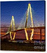 Arthur Ravenel Bridge At Evening  Canvas Print