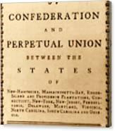 Articles Of Confederation, 1777 Canvas Print