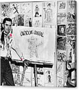 Artist Chuck Amesbury Aka Chuck Waggin Cartoon Corral Kvoa Tv Circa 1962-2013 Canvas Print