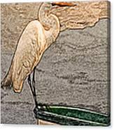 Artistic Egret And Boat Canvas Print