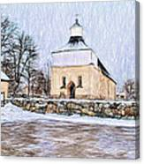 Artistic Presentation Of #svinnegarns #kyrka #church Of #svinnegarn March 2014 Viewed From The Parki Canvas Print