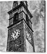 Ascona Clock Tower Bw Canvas Print