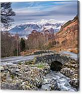 Ashness Bridge And Snow Capped Skiddaw Canvas Print