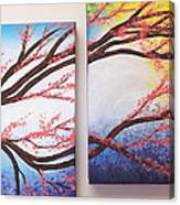 Asian Bloom Triptych 2 3 Canvas Print