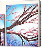 Asian Bloom Triptych Canvas Print
