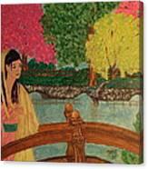 Asian Girl On Bridge  Canvas Print
