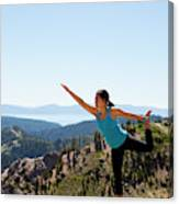 Asian Woman Practicing Yoga Outdoors Canvas Print