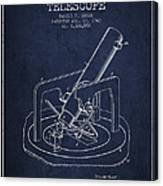 Astronomical Telescope Patent From 1943 - Navy Blue Canvas Print