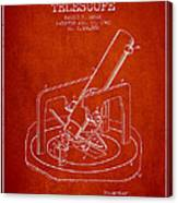 Astronomical Telescope Patent From 1943 - Red Canvas Print