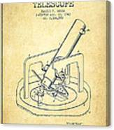 Astronomical Telescope Patent From 1943 - Vintage Canvas Print