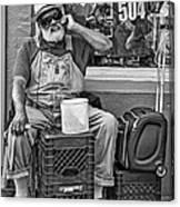At His Office - Grandpa Elliott Small Bw Canvas Print